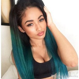 $enCountryForm.capitalKeyWord Australia - Long wigs Straight Dark Roots Ombre Green Wigs Heat Resistant Lace Front Wig Ombre Green Synthetic Lace Front Wigs For Black Women