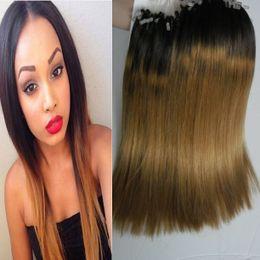 $enCountryForm.capitalKeyWord Australia - 200g Micro Loop Human Hair Extensions T1B 27 Ombre Micro Loop Ring Hair Remy Pre Bonded Hair Extension