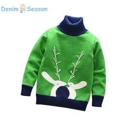 korean fashion baby boy clothes 2018 - Denim Season Fashion Infant Baby Boys Knitted Pullovers Winter Warm Outerwear Boys Sweaters Turtleneck Korean Children C