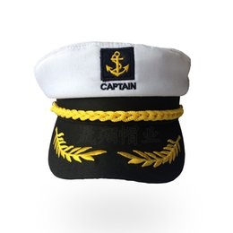 Vente en gros Vente chaude Enfants Marin Bateau Bateau Capitaine Chapeau Rétro Hommes Et Femmes Uniformes Chapeaux Blanc Casquette Réglable 8gz W