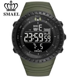Опт SMAEL мужчины Спорт на открытом воздухе электронный хронограф 2018 новые мужские часы большой циферблат цифровой 50 м водонепроницаемый цифровой светодиодные наручные часы