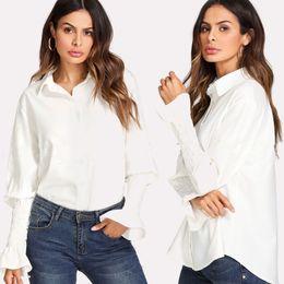 $enCountryForm.capitalKeyWord NZ - Newly Fashion Casual Formal Women Shirts Long Flare Sleeve Slid White Turn-Down Collar Slim Single Breasted Blouse Tops