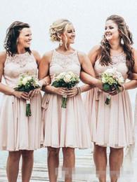 $enCountryForm.capitalKeyWord NZ - Stylish Hot Summer 2017 Beach Bridesmaid Dresses A Line Jewel Neck Above Knee Chiffon Country Short Party Dresses For Wedding Custom Made