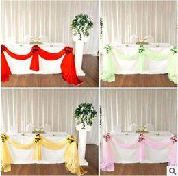 $enCountryForm.capitalKeyWord NZ - Wedding Table Skirt Decro Lace Ribbon 135 *500cm Wedding Party Banquet Decro High Quality Bow Party Supplies 14 Color Free Shipping