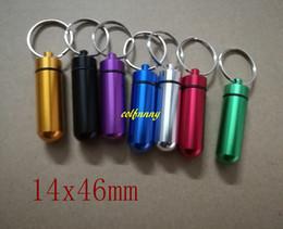 200 pcs / lot 14 * 46mm Mini En Aluminium Pilule Boîte Cas Bouteille Titulaire Porte-clés Boîte Imperméable Soins de Santé