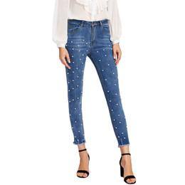 $enCountryForm.capitalKeyWord Australia - Softener Pearl Beaded Frayed Hem Jeans Casual Womens Skinny Jeans Denim Autumn High Waist Bleached Women Zipper Pants