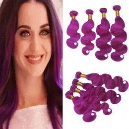 $enCountryForm.capitalKeyWord Australia - 4Pcs Lot Virgin Malaysian Purple Human Hair Weaves 400g Body Wave Wavy Purple Pink Hair Double Wefts Extensions Bundles Mixed Length