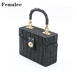 $enCountryForm.capitalKeyWord Australia - FEMALEE Black Suitcase Rattan Handbag Vintage Beach Bag Handmade Summer 2018 Box Straw Shoulder Totes Woven Lady Bolsa Feminia