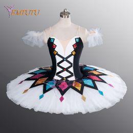 Discount professional ballet tutu blue - Harlequinade Dance Tutu Black White Ballerina Performance Professional Ballet Tutu Costume Classical ballet stage costum