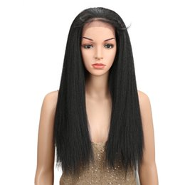 afro hair wigs for african woman 2019 - High Quality Natural Black #1B Synthetic Straight Lace Front Wigs For Women Long Afro Yaki Wigs with Baby Hair African A