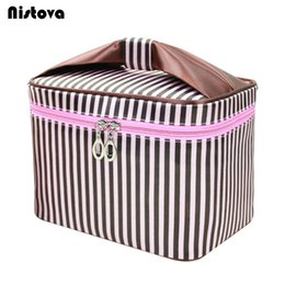 Discount toiletry cosmetic bags - Striped Cosmetic Bag Professional Makeup Bag Women Fashion Travel Make Up Necessaries Organizer Zipper Toiletry Kit Case
