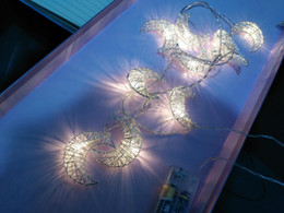 Decoration Birthday Party Room NZ - 10Led Handmade Iron Wire Light String Gold Silver Moon Festival Christmas Birthday Party Girl Room Decoration Pendant Gifts