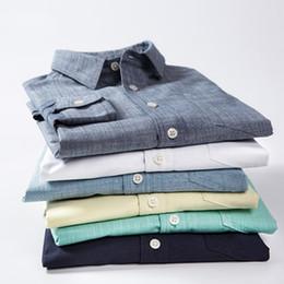 $enCountryForm.capitalKeyWord Australia - New 100% Cotton Square Collar Shirt Men Casual Solid Color Simple Long Sleeve Shirts Fashion Malebaju Kaos Priaclothing 50CS058