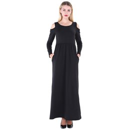 fc3cdae6becc 2019 New Fashion Women Maxi T-shirt Dress Solid Off Shoulder High Waist  Pockets Round Neck Long Gown Slim Casual One-Piece
