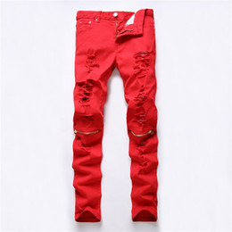 new modern man black ripped jeans NZ - New Dropshipping Red White Black Ripped Denim Knee Hole Zipper Biker Jeans Men Slim Skinny Torn Jean Pants Cotton Women Jeans S1012