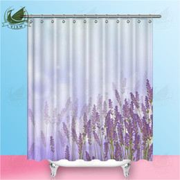 """nature curtains 2019 - Vixm Home Nature Lavender Fabric Shower Curtain Lavender Peony Bath Curtain For Bathroom With Hook Rings 72"""" X 72&q"""