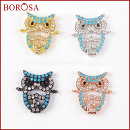 Natural Druzy Connector Australia - BOROSA 10PCS New Owl Pave CZ Cubic Zircon Crystal Bead Connector Double Bails Charms for Bracelet DIY Druzy Jewelry Making WX827