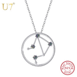 U7 925 Sterling Silver Libra Zodiac Sign Necklaces Pendants Constellation Jewelry Accessories For Men Women Birthday Gift SC77