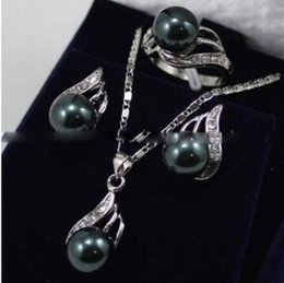 $enCountryForm.capitalKeyWord Australia - 7 Styles Ladies Jewelry Set Green Jade Shell Pearl Necklace Earrings Ring Set
