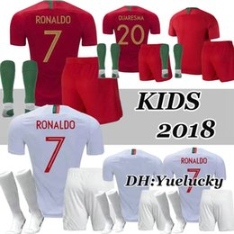a09f99279 2018 World Cup soccer jersey RONALDO Home Away kids Kits QUARESMA  J.MOUTINHO BERNARDO ANDRE SILVE J.MARIO CR7 child Football Shirt