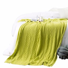$enCountryForm.capitalKeyWord UK - Blanket Grass Green Solid Color Knitted Woven 1Pcs Bedding 1pcs Breathable Comfort Bedspread Blankets For Adults Coral Blanket