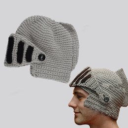 7a7b17340c5 New Funny Cap Men Beanie Skullies Knitted Hat Rome Gladiator Rider Knit Hat  Winter Roman Removable Mask Hats Boy Handmade WH096