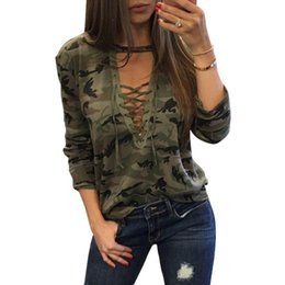 Frauen Designer-T-Shirts Frauen Camouflage Top Lace Up-T-Shirt Camo Halter Top Sexy Bandage beiläufige Tracksuits Female Shirt Langarm-Shirt