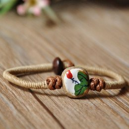 Wholesale Ceramic Hand woven Bracelets Hand painted Lotus National Wind Porcelain Beads DIY Crafts Radiation Protection Fashion Jewelry