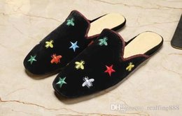 Leather Details NZ - AAAAA Quality Women Princetown Velvet Slipper Shoes,Embroidered Bees and Stars,Leather Sole,Horsebit detail,Size 35-40,Free Shipping