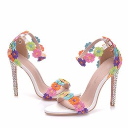 Wholesale New summer AB crystal open toe shoes for women super high heels fashion multi flowers stiletto heel wedding shoes ankle strip Bridal sandals
