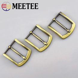 Brass Needles Australia - Meetee 4cm Metal Antique Brass Belt Buckle Solid Pin For Men Belt adjustable Buckle DIY Leather Craft Accessories F1-81