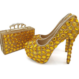 Women Size 12 Rhinestone Shoes Australia - 2018 Handmade Gold Rhinestone Woman Pumps with Clutch Bag 5 Inches High Heels Wedding Party Shoes with Purse Big Size 10 11 12