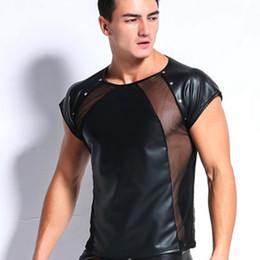 $enCountryForm.capitalKeyWord NZ - T shirts Men Sexy Mesh Rivet faux leather Vest Lingerie Club Wear Costume Gay Underwear Black Wet Look Fetish Dance Tops Tee