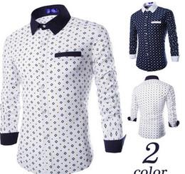 Shirt Stitching Pattern NZ - Fashion Men Shirt Printting Argyle Pattern Shirts Stitching Shirt Long-Sleeves Summer Casual Slim Shirts C78