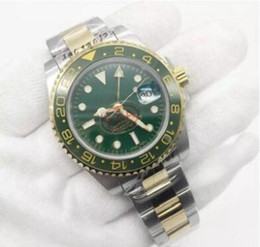 Ro watches online shopping - 2019 Newly Listed V3 Version GMT2 Luxury Watch RO MM Ceramic Rotating Bezel Two Tone Green Asia Automatic Movement Original Clasp