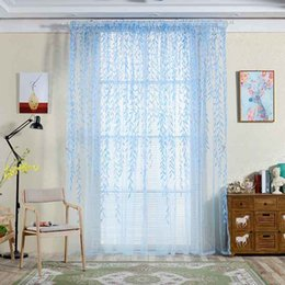 $enCountryForm.capitalKeyWord Australia - 1 X 2m Willow Leaf Tulle Curtain Blinds Voile Pastoral Style Willow Floral Window Decorative Cortinas For Bedroom Living Room