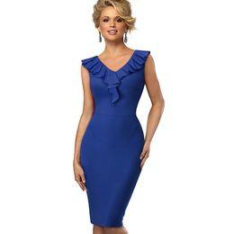 $enCountryForm.capitalKeyWord NZ - Summer Women Red Pencil Dress Sleeveless High Waist Elegant Slim Deep V-neck European Knee Length Bodycon Dress Blue