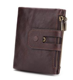 coins organizer UK - Genuine Cow Leather Men Wallet Fashion Coin Pocket Zipper&Hasp Organizer Wallects High Quality Male Card ID Holder