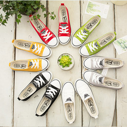 $enCountryForm.capitalKeyWord NZ - Spring Summer slips Canvas Shoes 6 colors low cut Sneakers Shallow Flat Casual Comfortable Laced Up Slip-on plimsolls for Girls Students