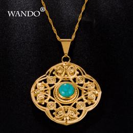 $enCountryForm.capitalKeyWord NZ - WANDO Newest Turkey Blue Stone Pendants Gold Color Pendant & Necklace Fashion Jewelry Slide Pendants Arabic Women Girls GiftsWP1