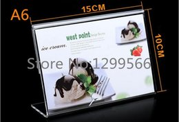 Wholesale Hot sale A6 L shape advertising tag sign card display stand Acrylic table Desk menu price Label Holder Stand Promotional cards