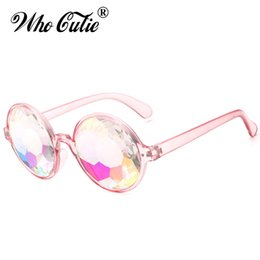 China Who Cutie 2017 Kaleidoscope Sunglasses Women Retro Round Crystal Lens Prism Glasses Lady Gaga Celebrity Cosplay Party cheap golden cosplay suppliers