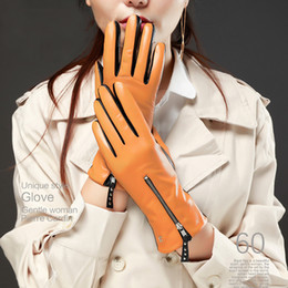 Discount bamboo skin - women combined color mid zipper style top Italy lamb skin leather gloves