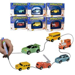 Discount toy buses for children Magic Mini Pen Inductive Toy Car Truck Tank Bus Follow Any Drawn Line Battery Included For Pre-school Learning and Child