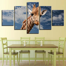 giraffes picture NZ - HD Print Canvas Painting Modern Home Decoration Giraffe Animal Oil Painting 5 Panel No Frame Landscape Picture For Bedroom Wall Art Poster