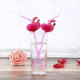 cute plastic straws Canada - New 50PCS Lot Cute 3D Flamingo Straw Bendy Flexible Plastic Drinking Straws Kids Birthday Wedding Pool Party Decoration Supplies