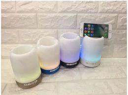 Best Mobile Speakers Australia - Best Quality Wireless Bluetooth speaker pen holder phone bracket speaker with colorful lights mini portable small sound Q6 fashion item