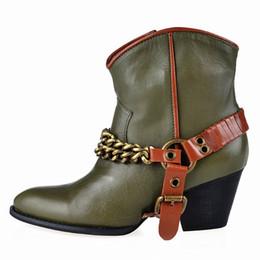 $enCountryForm.capitalKeyWord UK - Hot Brand Leather Women Boots Side Zipper Heel Ankle Boots Metal Belt Buckle Design Cool Shoes Chain Decor Woman Short Booties