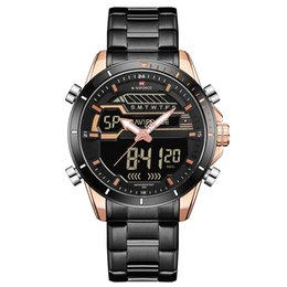 Wholesale NAVIFORCE Quartz Watch Men Dual Time Analog Digital Watches Mens ATM Waterproof Stainless Steel Strap Backlight Watches