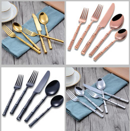 Luxury Stainless Steel Cutlery NZ - 5 pcs 1set Tableware Set Stainless Steel Cutlery flatware set spoon fork knife gold color dinnerware set luxury tableware KKA5758